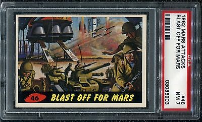 PSA 7 1962 Mars Attacks #46 Blast Off For Mars Topps Bubbles Near Mint NM a