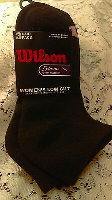 Wilson Women's 3 Pairs Pack Low Cut Socks. Size 9-11 Black NIP