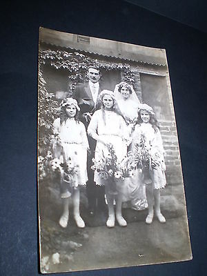 social history beautiful wedding fashion group with flower girls photo postcard