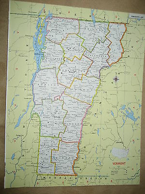 1981 Colorful Original Funk Map  VIRGINIA / VERMONT  31 years old