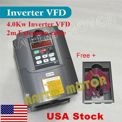 【USA Stock】 New 4KW 220V 5HP Inverter VFD Variable Frequency Drive 18A for CNC