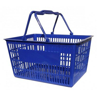 5 x Plastic Shopping Baskets 20L Blue