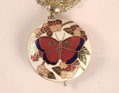 Vintage Chinese Cloisonne Enamel Red Butterfly Large Pendant Chain Necklace
