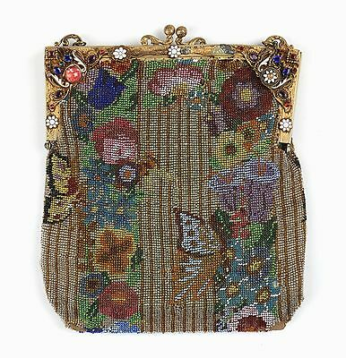 VTG 1920s BEADED FLORAL BUTTERFLY CLUTCH PURSE JEWELED FRAME