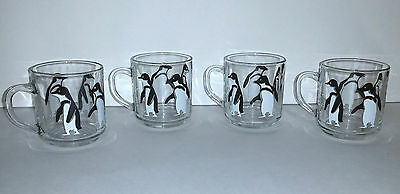 Set of 4 Luminarc Glasses Coffee Cups Mugs with Penguin Penguins