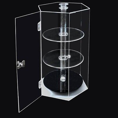 Acrylic Spinning Hexagonal Showca 310x270x480mm Clear Plastic Countertop Cabinet