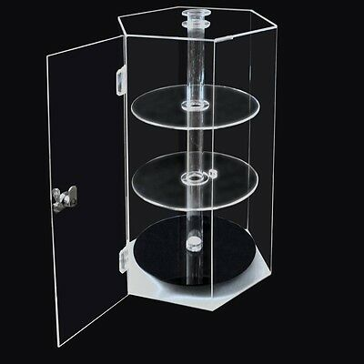 Acrylic Spinning Hexagonal Showcase 310x270x480mm Plastic Countertop Cabinet