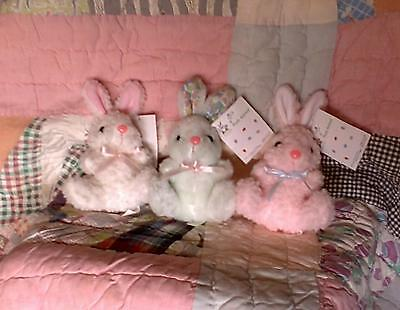 NEW! 3 ADORABLE BUNNIES! CUTE PLUSH BUNNY RABBITS 1 Pink 1 White 1 Bluish Green
