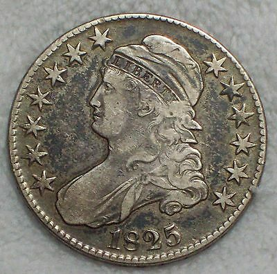 1825 BUST Half Dollar SILVER O-102 Variety VF XF Detailing RARE Authentic 50C
