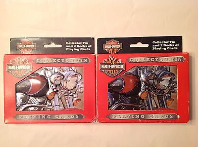 2 Harley Davidson Collectors Tins with 2  Decks of Playing Cards Each