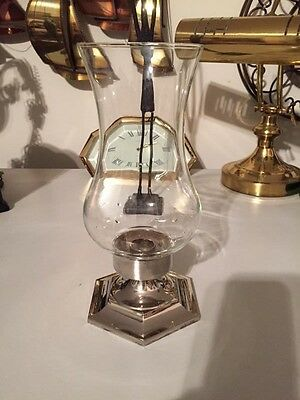 Vintage Silver Plate Candle Holder Hurricane Globe 9.5 in. #122