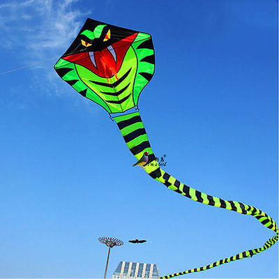 15m Power Cyan Cobra Snake Kite Outdoor Fun Sports easy to fly Children Toys NEW