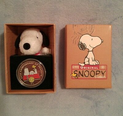 Peanuts 60th Anniversary 2010 British Virgin Islands $1 Snoopy & Woodstock Coin