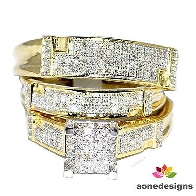 10K Yellow Gold Round Diamond His And Hers Trio Bridal Wedding Ring Band Set