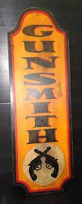 Vintage Style Hand Painted Wooden Gunsmith's Sign