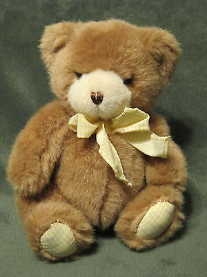 Carters Teddy Bear Plush Rattle Brown Tan Yellow Gingham Bow  Prestige Toy Baby