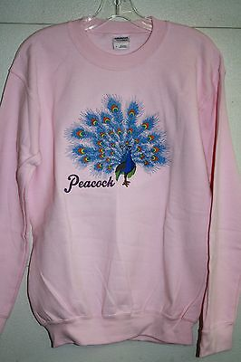 Peacock Embroidered On A Small Pink Crewneck Sweatshirt