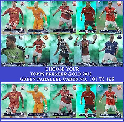 Choose Your Topps PREMIER GOLD 2013 GREEN PARALLEL Cards From 101 to 125