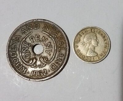 Penny & 3 Pence Rhodesia & Nyasaland 2 old coins former British colony in Africa
