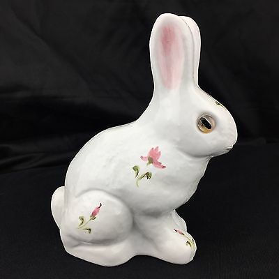 Ceramic Rabbit Bunny Hand painted Floral Glass Eyes Authentic Alcobaca Portugal