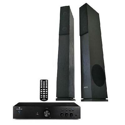 Deluxe Home Cinema New 600W Amplifier System Hifi Tower Speakers Bass Reflex Sub