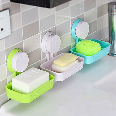 Fashion Soap Dish Box Strong Suction Cup Wall Holder Bathroom Accessories