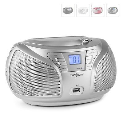 Oneconcept Groovie Sl Boombox Cd Stereo Bluetooth Fm Aux Mp3 Silver