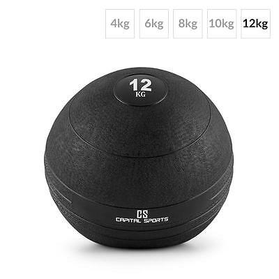 Capital Sports Groundcracker 12Kg Slamball Black Rubber Arm Body Core Training
