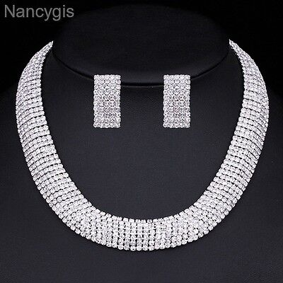 Stunning Silver Crystal Choker Necklace and Earrings Wedding Jewellery Set