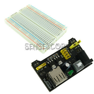 5V/3.3V MB102 Breadboard Power Supply Module +Breadboard 400 Contacts Tie-points