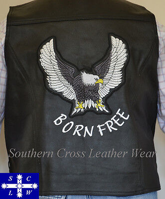 Men's Suede & Leather Combo Motorcycle Vest With Embroidery Eagle or Chief S-4XL