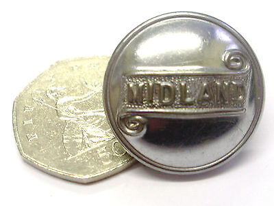 """Midland Bus Tunic Button – 1"""" Dia – In Very Nice Used Condition As Shown"""