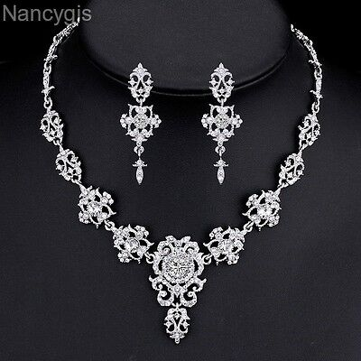 Elegant Crystal Floral Necklace and Earrings Party Bridal Wedding Jewellery Set