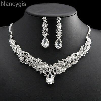 Luxurious Angel Wings Crystal Necklace and Earrings Bridal Wedding Jewellery Set