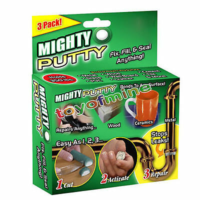 3 Pack Mighty Putty Fill Seal Glue Adhesive Tool For Wood Metal With Gloves