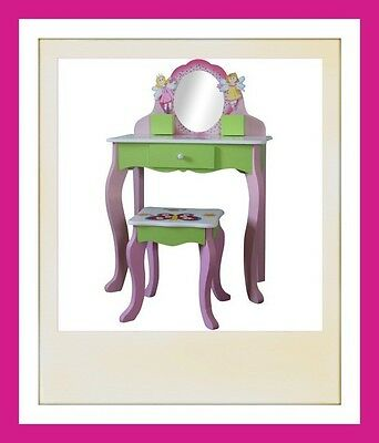 Girls Dressing Table Set Stool Child Safe Mirror Wooden Vanity Dresser Bedroom