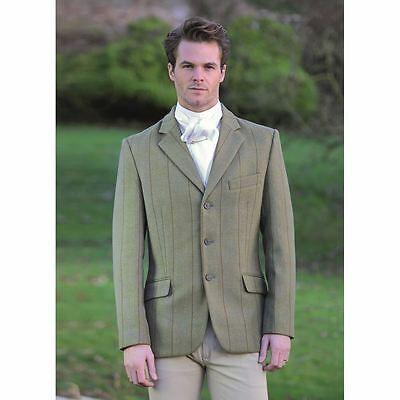 Shires men's Huntingdon Tweed Wool Hacking Show Jacket green/copper check