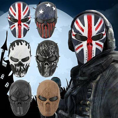 Airsoft Paintball Tactical Full Face Protection Skull Mask Skeleton Army F#