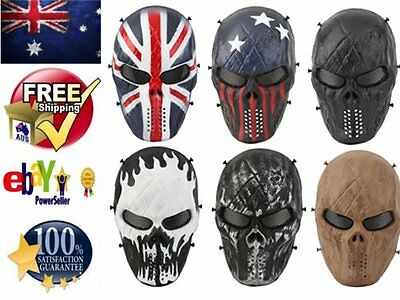 Camouflage Tactical Full Face Protection Skull Mask CS War BB Game Army B#