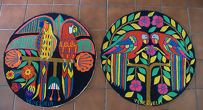 Two Rare Colouful Original Vintage Wall Hangings from Venezuela - Parrots