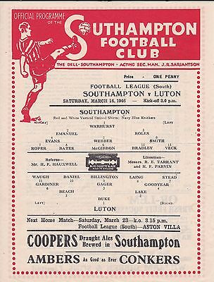 SOUTHAMPTON v LUTON ~ WAR LEAGUE SOUTH ~ 16 MARCH 1946