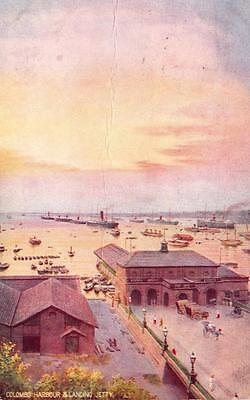 Vintage 1924 Tucks Postcard COLOMBO Harbour & Landing Jetty CEYLON