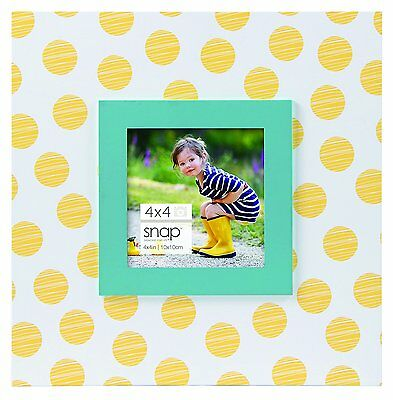 Snap White W/Yellow Polka Dots Kids Blue Boarder Picture/Photo Frame New Sealed