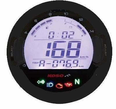 Koso DL-03SR Digital Motorcycle Speedometer Tachometer Warning Lights Dash Blk