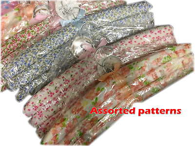 9 Clothes Coat Hanger Hangers Fabric cover Padded Assorted Floral Pattern