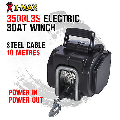 I-MAX 12V 3500LBS Portable Electric Steel Cable Boat Winch Trailer ATV 4WD 4x4