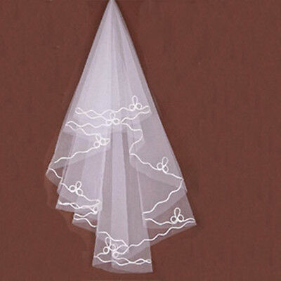 Fashion Elegant Cathedral Champagne Bride's Veil Ribbon Serging Combs White Hot