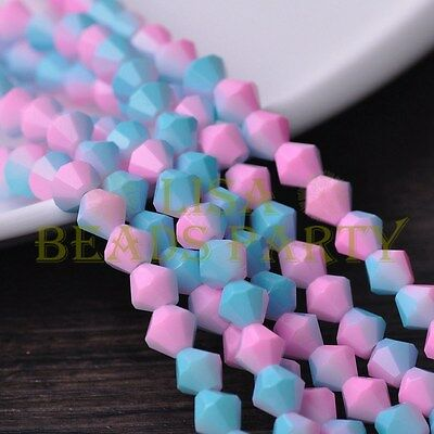 Hot 50pcs 6mm Bicone Faceted Glass Loose Spacer Colorful Beads Pink&Lake Blue