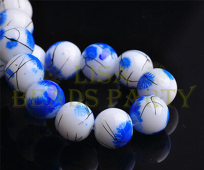 New 20pcs 10mm Round Glass Ball Jewelry Findings Loose Spacer Beads Deep Blue