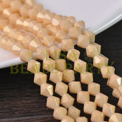 Hot 100pcs 4mm Bicone Gold Foil Faceted Glass Loose Spacer Beads Baby Gold